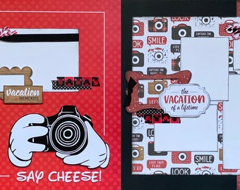 Say Cheese - The Vacation of a Lifetime - Disney Inspired 2 page Scrapbooking Layout Kit or Premade Scrapbooking Pages,  diy craft kit