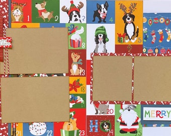 Days of Christmas - Happy Pawlidays 2 Page Scrapbooking Layout Kit or Premade Scrapbooking Pages