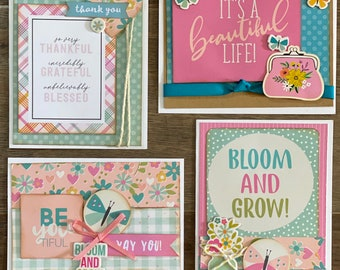 Bloom and Grow General Pastel Themed Card Kit- 4 pack DIY card kit DIY card craft DIY card spring