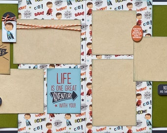 Life is One Great Adventure With You - Superhero 2 page Scrapbooking layout kit or Premade Scrapbooking Pages