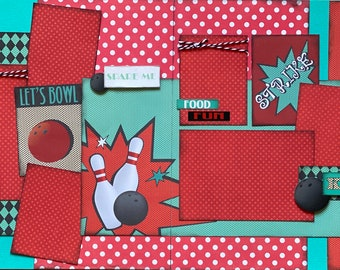 Let's Bowl, Bowling Themed Scrapbooking Layout Kit,  2 Page Scrapbooking Layout Kit or Preassembled Scrapbooking Pages, DIY Bowling Craft