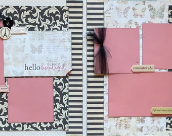 Hello Beautiful  - Dream as if You'll Live Forever 2 page Scrapbooking Layout Kit or Premade Scrapbooking Pages DIY Family craft