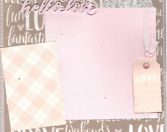 Hello Love   2 Page Scrapbooking Layout Kit