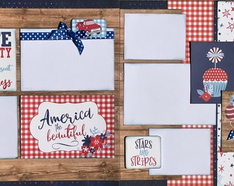 Life, Liberty and the Pursuit of Happiness Americana 2 Page Scrapbooking Layout Kit or Pre Made Pages Fourth of July diy craft diy kit