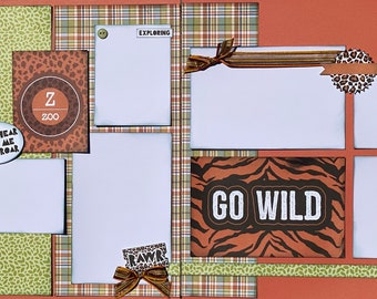 Go Wild Hear Me Roar Tiger  Zoo Themed 2 Page Scrapbooking Layout Kit or Premade Pages Zoo scrapbook diy craft kit Zoo craft kit