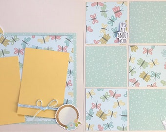 Showered with Love - It's all about you - Baby Shower 2 page Scrapbooking Layout Kit or Pre Made Pages