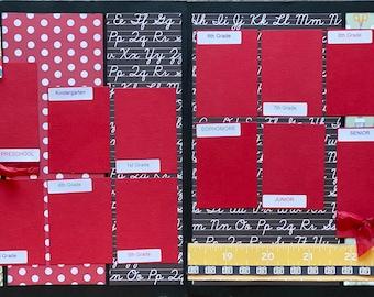 1st Grade Scrapbooking Kit Bundle -  4 page Scrapbooking Layout Kit or Pre Made Pages - 2 - 2 Page layout kits