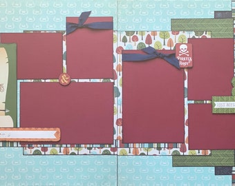 As Soon As I Saw You, I Knew An Adventure...Little Boy Scrapbooking Kit,  2 page DIY Scrapbooking Layout Kit or Pre Made Scrapbooking Pages
