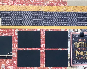 Life is Better On the Porch- This is My Happy Place 2 Page Scrapbooking Layout Kit or Premade Scrapbooking Pages