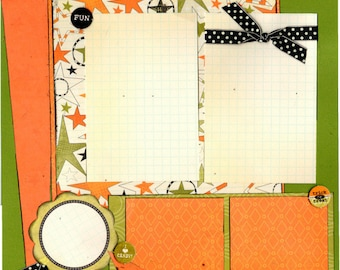 Trick or Treat Fun, I Love Candy - Halloween 2 Page Scrapbooking Layout Kit or Premade Pages