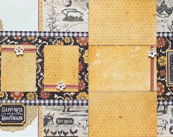 Happiness is Homemade, This is My Happy Place 2 Page Scrapbooking Layout Kit or Premade Scrapbooking Pages
