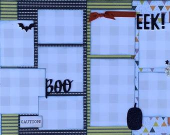 EEK!!  BOO!!  Halloween 2 Page Scrapbooking Layout Kit or Premade Scrapbooking Pages halloween DIY craft kit