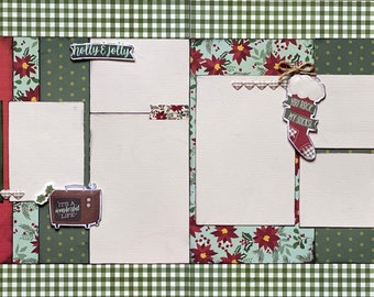 Snuggle Season - Holly and Jolly2 Page Scrapbooking Layout Kit or Premade Scrapbooking Pages Christmas diy craft kit