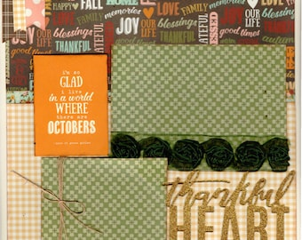 Thankful Heart - I'm so Glad I Live in a World Where there are Octobers - 2 Page Scrapbooking Layout Kit or Pre Made Scrapbooking Pages