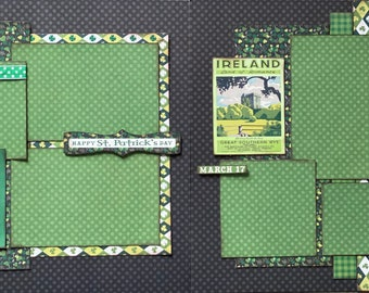 Happy St Patricks Day - Good Luck, Good Health and Happiness - 2 page Scrapbooking Layout Kit or Premade Pages