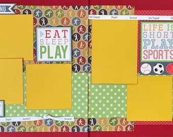 Athlete in Training - Life is Short, Play Sports 2 page Scrapbooking Layout Kit or Premade Scrapbooking Pages