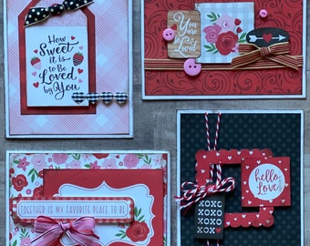 Hello LoveValentine Themed DIY Card Kit- 4 pack DIY Valentine Card Making Kit Diy love craft, Love themed DIY Craft