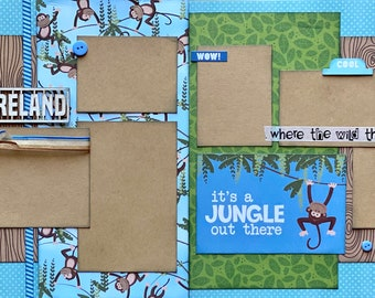 Adventure Land It's a Jungle Out There  Zoo Themed 2 Page Scrapbooking Layout Kit or Premade Pages Zoo scrapbook diy craft kit Zoo craft kit