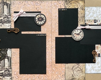 Family Time- Vintage 2 page Scrapbooking Layout Kit or Premade Scrapbooking Pages DIY Family craft