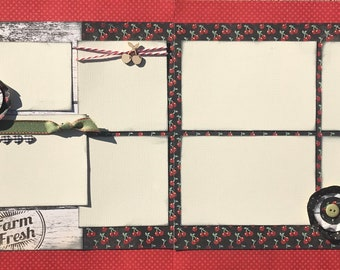Farm Fresh 2 Page Scrapbooking Layout Kit or Premade Scrapbooking Pages