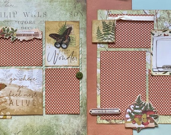 Go Where You Feel Most Alive Share the Wonder 2 page Scrapbooking Layout Kit or Premade Scrapbooking Pages camp diy craft kit hiking  craft