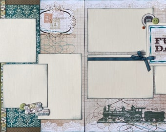 Train Adventure - Such a Fun Day 2 page Scrapbooking layout kit or Premade Scrapbooking Pages