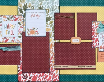 I'm So Glad I Live in a World Where There Are Octobers  2 Page Scrapbooking Layout Kit or Pre Made Scrapbooking Pages fall diy craft kit