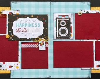 Happiness Starts Here - Disney Inspired 2 page Scrapbooking layout Kit or Premade Scrapbooking Pages, Disney Inspired diy craft kit