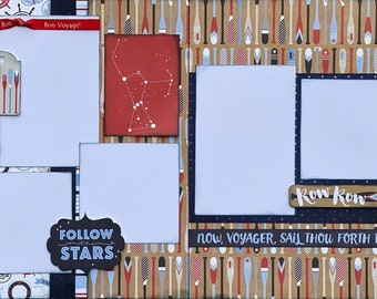 Row Row Row - All Aboard 2 page scrapbooking layout Kit or Premade Scrapbooking Pages  diy craft Scrapbooking diy craft kit