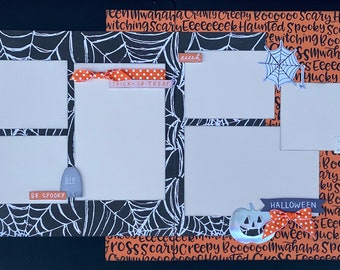 October 31st - Be Spooky Halloween 2 Page Scrapbooking Layout Kit or Premade Scrapbooking Pages halloween DIY craft kit