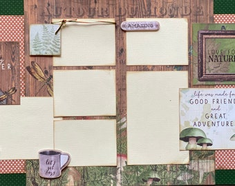 Happy Camper - Life is Made for Good Friends 2 page Scrapbooking Layout Kit or Premade Scrapbooking Pages camp diy craft kit hiking  craft