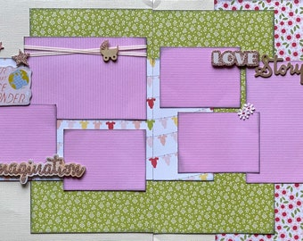 Never Lose Your Sense of Wonder - Girl 2 page Scrapbooking Layout Kit or Pre Made Pages girl diy craft kit