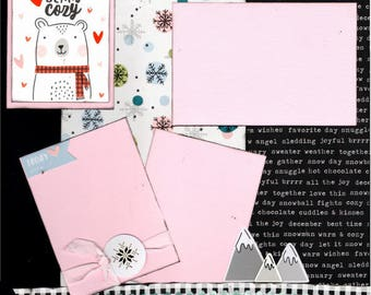 Beary Cozy Winter 2 Page Scrapbooking layout Kit