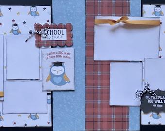 School is Fun DIY 2 page scrapbooking kit or Premade Scrapbooking Pages, DIY school craft kit, Kindergarten graduation craft kit