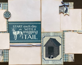 Start Each Day with a Wagging Tail - Dog Scrapbooking 2 Page Scrapbooking Layout Kit or Premade Scrapbooking Pages