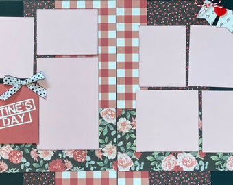 Happy Valentine's Day 2 Page Scrapbooking Layout Kit or Premade Scrapbooking Pages