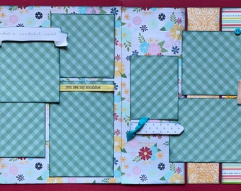 Rise and Shine - What a Wonderful World 2 Page Scrapbooking Layout Kit or Premade Scrapbooking Pages