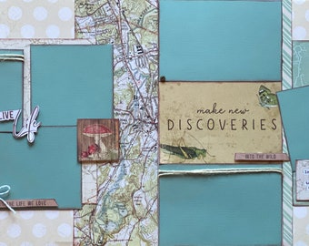 Making Memories One Adventure at a Time  2 page Scrapbooking Layout Kit or Premade Scrapbooking Pages camp diy craft kit hiking  craft