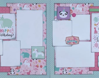 Hippo Birthday, Hippo Party Mus  2 Page Scrapbooking layout KIt or Premade Scrapbooking Pages Birthday diy craft kit