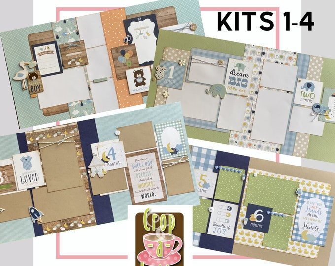 Featured listing image: Baby Boy Month to Month Scrapbooking bundle, 8 -  2 page Scrapbooking Layout Kits, DIY Baby Boy Scrapbooking Craft Kit