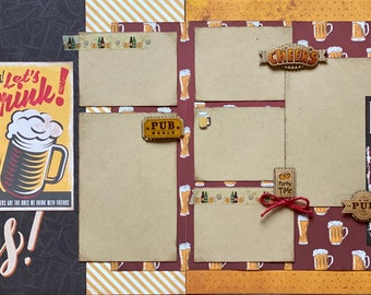Cheers!  Let's Drink - Beer Themed 2 Page Scrapbooking Layout Kit or Premade Scrapbooking Pages. DIY craft kit Beer