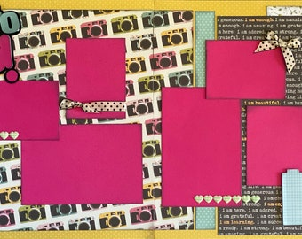 Photo OP!  2 Page Scrapbooking Layout Kit or Pre Assembled Scrapbooking Pages.  Great for Senior Pics!  Scrapbook diy kit