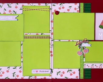 Summertime - You're One in a Melon 2 Page Scrapbooking Layout Kit or Premade Scrapbooking Pages