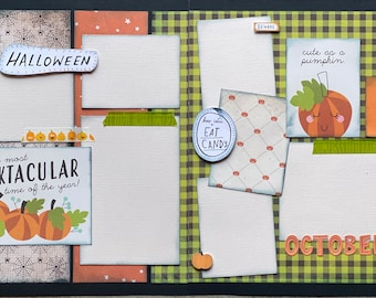 It's The Most Spooktacular Time of the Year  2 Page Scrapbooking Layout Kit or Premade Scrapbooking Pages DIY craft kit, Pumpkin patch diy