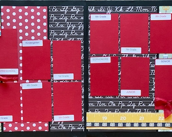 School Photos  Scrapbooking DIY Page Kit or Pre-Assembled Pages, DIY school craft kit, School photo page kit