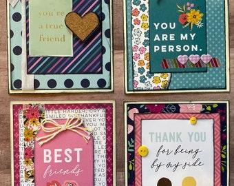 Friendship Themed Card Kit Set #2  - 4 pack DIY Card Kit bff Card Craft DIY