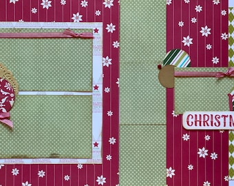 Merry Christmas - Santa  2 Page Scrapbooking Layout Kit or Premade Scrapbooking Pages  diy craft kit