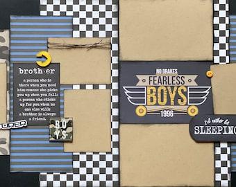 Brother Scrapbooking Kit,  2 Page Scrapbooking Layout Kit or Pre Made Pages Scrapbooking Kit, DIY Craft Boy Layout, So Rad Boy Craft Kit