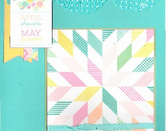 April Showers Bring may Flowers 2 Page Scrapbooking Layout Kit