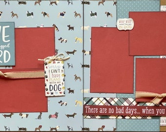 Love is a Four Legged Word - Dog Scrapbooking 2 Page Scrapbooking Layout Kit or Premade Scrapbooking Pages Dog diy craft kit